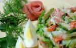 Салат с копченой горбушей холодного копчения