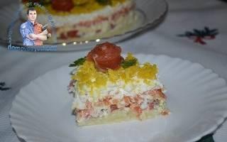 Салат мимоза с форелью
