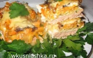 Горбуша с грибами и сыром